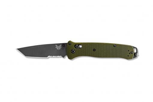 Benchmade Bailout Grey CPM-3V Combo Tanto Blade Woodland Green Aluminum Handle Front Side Open