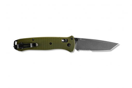 Benchmade Bailout Grey CPM-3V Combo Tanto Blade Woodland Green Aluminum Handle Back Side