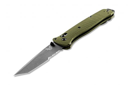 Benchmade Bailout Grey CPM-3V Combo Tanto Blade Woodland Green Aluminum Handle Front Side Angled