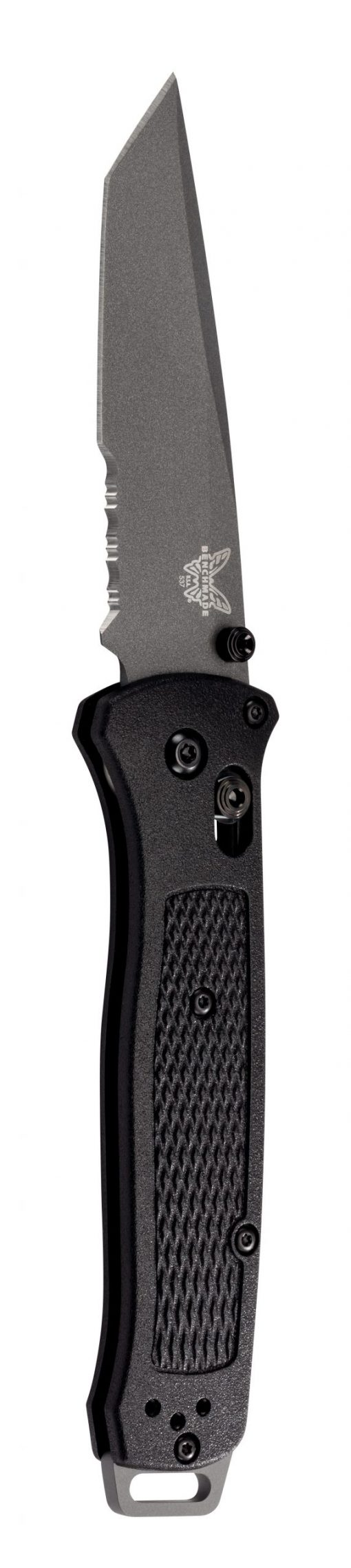 Benchmade Bailout Grey CPM-3V Combo Tanto Blade Black Grivory Handle Front Side Open Up