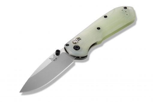 Benchmade Mini Freek Shot Show Exclusive S90V Blade Jade G-10 Handle Front Side Open Angled