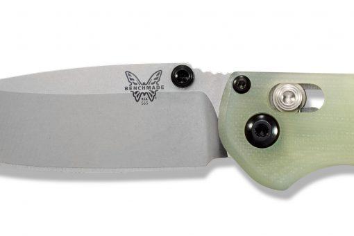 Benchmade Mini Freek Shot Show Exclusive S90V Blade Jade G-10 Handle Blade Close Up