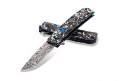Benchmade Gold Class Tengu Flipper Damasteel Tanto Blade Marbled Carbon Fiber Handle Both