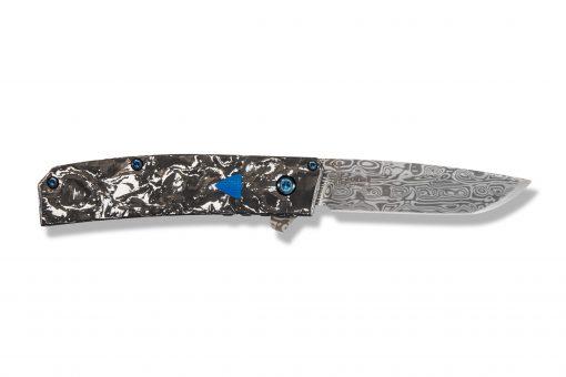Benchmade Gold Class Tengu Flipper Damasteel Tanto Blade Marbled Carbon Fiber Handle Back Side Open