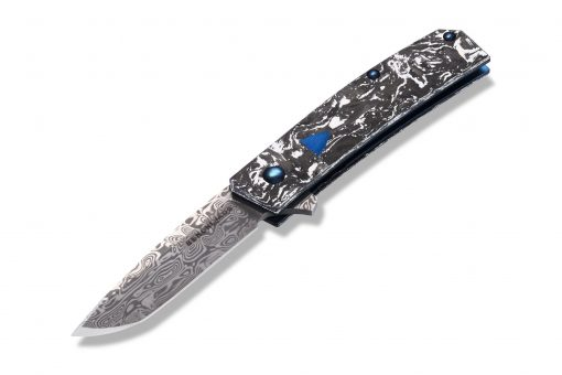 Benchmade Gold Class Tengu Flipper Damasteel Tanto Blade Marbled Carbon Fiber Handle Front Side Open Angled