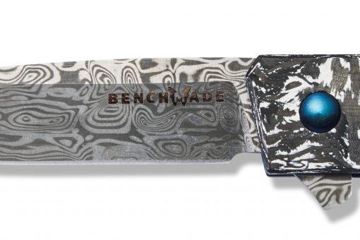 Benchmade Gold Class Tengu Flipper Damasteel Tanto Blade Marbled Carbon Fiber Handle Blade Close Up