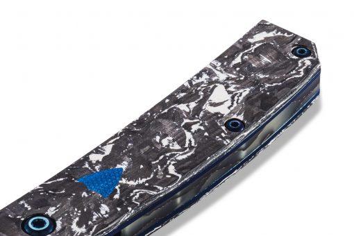Benchmade Gold Class Tengu Flipper Damasteel Tanto Blade Marbled Carbon Fiber Handle Close Up Scale