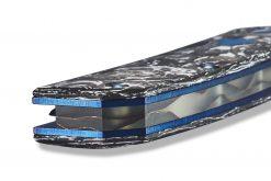 Benchmade Gold Class Tengu Flipper Damasteel Tanto Blade Marbled Carbon Fiber Handle Spine Close Up