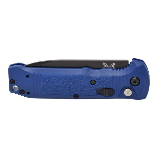 Benchmade 4400SBK-1 Casbah Serrated Black Blade Blue Grivory Handle Front Side Closed