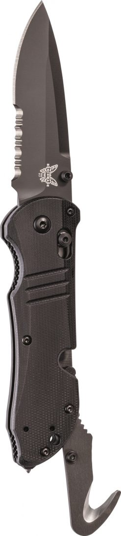 Benchmade Tactical Triage Black Combo Blade Black G-10 Handle Front Side
