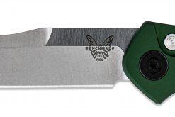 Benchmade FPR Osborne Auto S30V Blade Green Aluminum Handle Blade Close Up