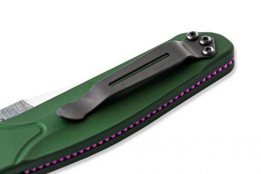 Benchmade FPR Osborne Auto S30V Blade Green Aluminum Handle Clip Close Up