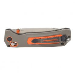 Benchmade Grizzly Ridge Stonewash Blade Grey/Orange Handle Back Side Closed