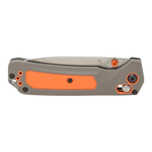 Benchmade Grizzly Ridge Stonewash Blade Grey/Orange Handle Front Side Closed