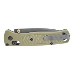 Benchmade Bugout Grey Nitride Coated Drop Point Serrated Blade Ranger Green Handle Back Side Closed