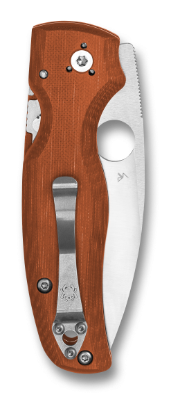 Spyderco Shaman REX 45 Blade Orange G-10 Handle Back Side Closed
