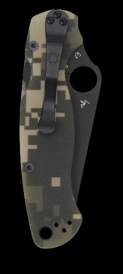 Spyderco Para Military 2 Black VG-10 Blade Digicamo G-10 Handle Back Side Closed