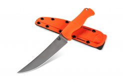 Benchmade Meatcrafter CPM-154 Blade Orange Santoprene Handle Front Side Angled With Sheath