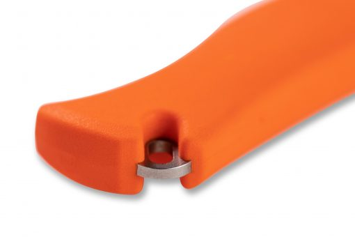 Benchmade Meatcrafter CPM-154 Blade Orange Santoprene Handle Handle Close Up 2