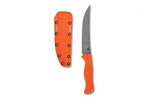 Benchmade Meatcrafter CPM-154 Blade Orange Santoprene Handle Front Side Up With Sheath