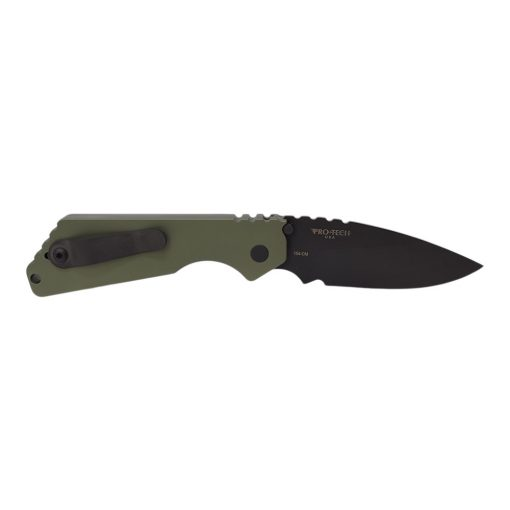 Pro-Tech Strider SNG Auto Black DLC 154CM Blade Green Aluminum Handle Back Side Open
