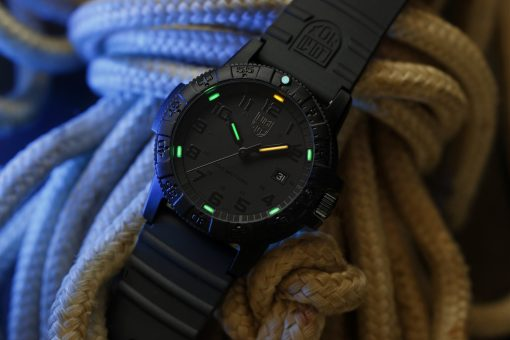 Luminox Leatherback Sea Turtle Giant 0320 Series 0321.BO.L Black/Black Front Side Open Background