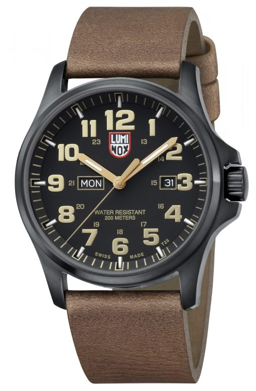 Luminox Atacama Field Day Date 1929 Brown/Gold Front Side Closed Angled