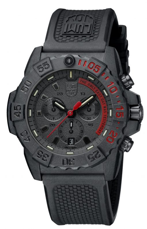 Luminox Navy SEAL Chronograph 3580 Series 3581.EY Black/Red/Black Front Side Closed