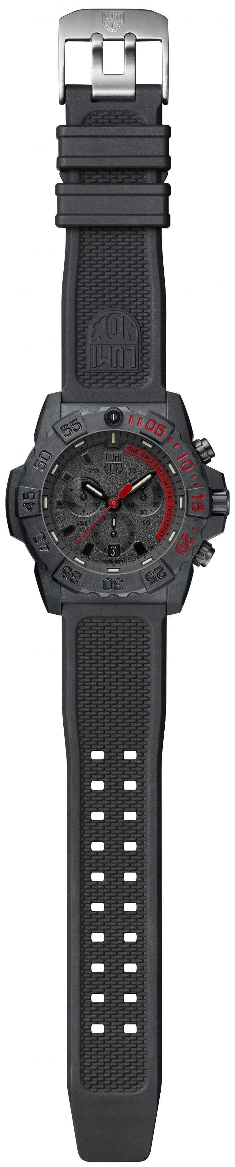 Luminox Navy SEAL Chronograph 3580 Series 3581.EY Black/Red/Black Front Side Open Center