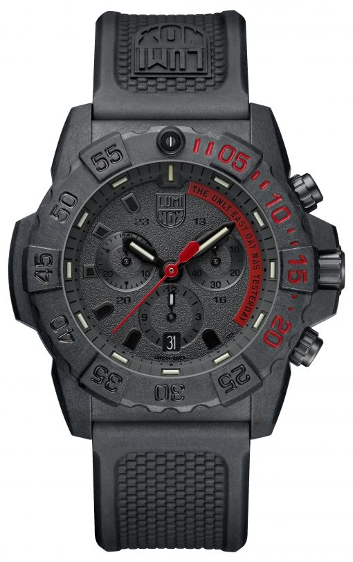 Luminox Navy SEAL Chronograph 3580 Series 3581.EY Black/Red/Black Front Side Closed Center