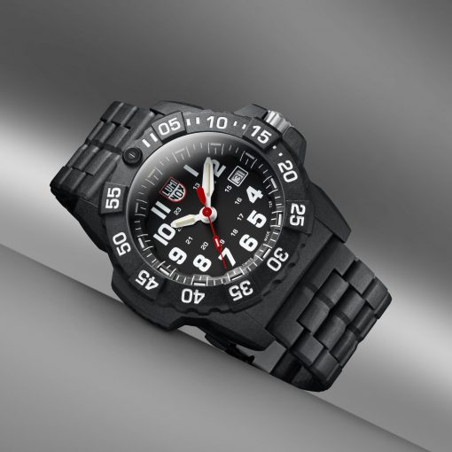 Luminox Navy SEAL 3500 Series 3502.L Black/White Front Side Angled With Background