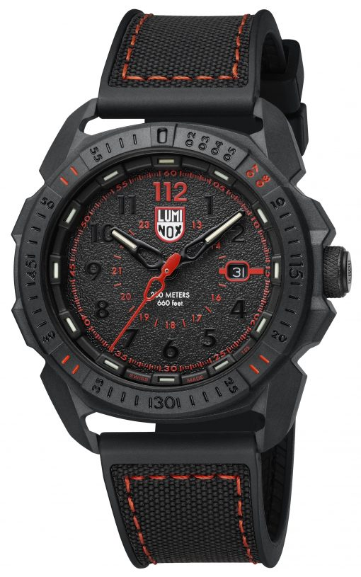 Luminox ICE-SAR ARTIC 1000 Series - CARBONOX 1002 Black/Red Front Side Closed Angled