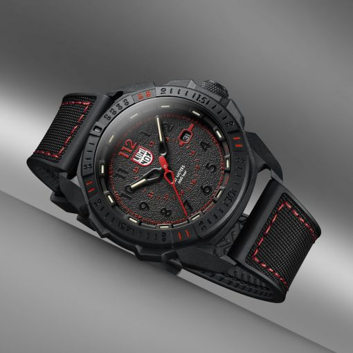 Luminox ICE-SAR ARTIC 1000 Series - CARBONOX 1002 Black/Red Front Side Closed Angled 2