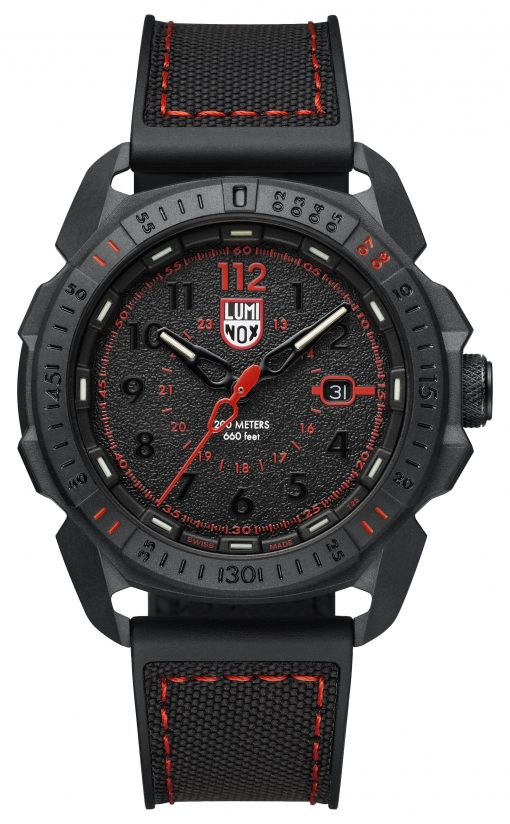 Luminox ICE-SAR ARTIC 1000 Series - CARBONOX 1002 Black/Red Front Side Closed Center