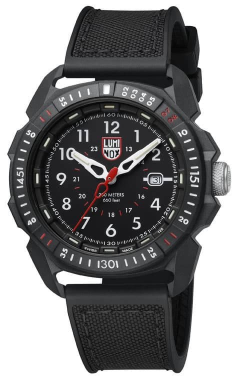 Luminox ICE-SAR ARTIC 1000 Series - CARBONOX 1001 Black/White Front Side Closed Angled