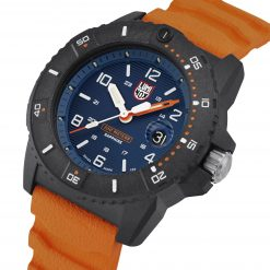 Luminox Navy SEAL 3600 Series 3603 Blue/White/Orange Front Side Closed Angled Close Up