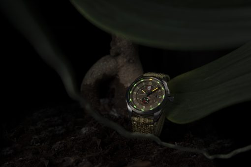 Luminox Atacama Adventurer 1767 Green/Brown Front Side Closed With Background