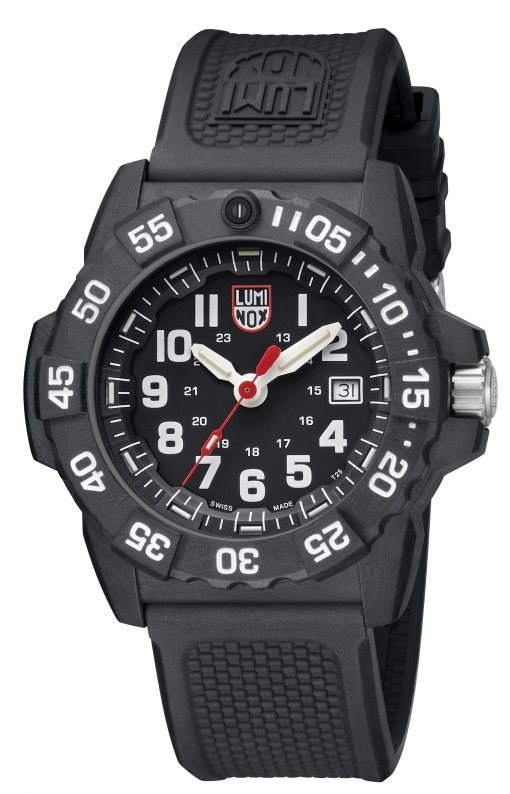 Luminox Navy SEAL 3500 Series 3501.L Black/White Front Side Closed Angled