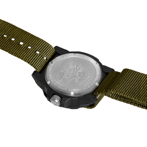 Luminox Navy SEAL 3600 Series 3617.SET Green/Black Back Side Open Angled