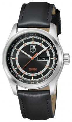Luminox Atacama Field Automatic 1900 Series 1901 Black Sunray/Orange Front Side Closed Angled