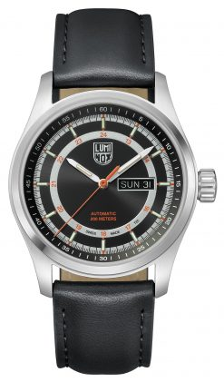 Luminox Atacama Field Automatic 1900 Series 1901 Black Sunray/Orange Front Side Closed Center