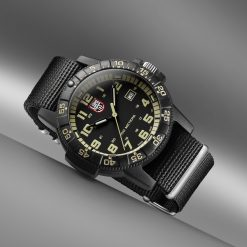 Luminox Leatherback Sea Turtle Giant 0320 Series 0333 Black/Beige Front Side Closed Angled With Background