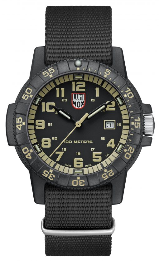 Luminox Leatherback Sea Turtle Giant 0320 Series 0333 Black/Beige Front Side Closed Center