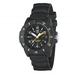 Luminox Navy SEAL 3600 Series 3601 Black/White/Yellow Front Side Closed Angled
