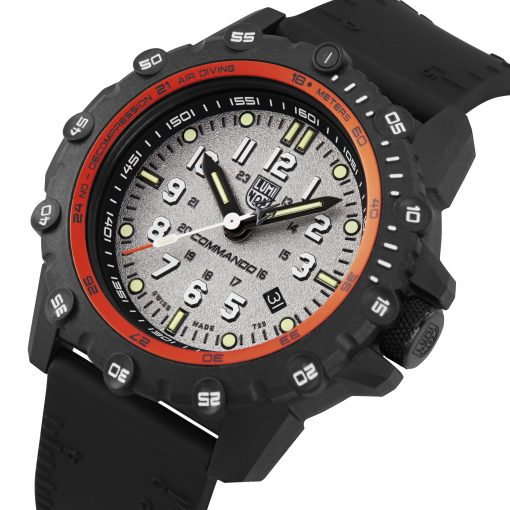 Luminox Commando Frogman 3300 Series 3301 Grey/White Front Side Closed Angled