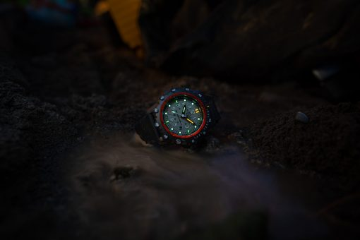 Luminox Commando Frogman 3300 Series 3301 Grey/White Front Side Closed With Background Night