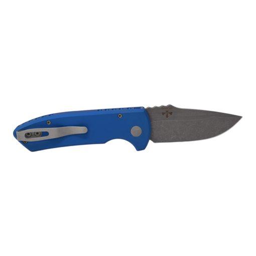 Pro-Tech Short Bladed Rockeye Auto Acid Wash S35VN Blade Blue Aluminum Handle Back Side Open