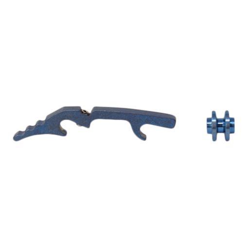 """Hinderer XM-18 3.5"""" Titanium Backspacer Blue Side Profile"""