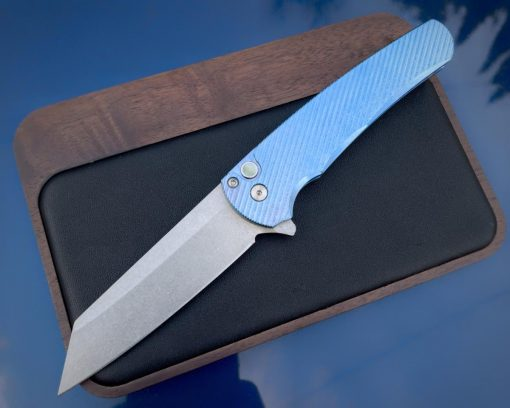 ProTech Malibu Reverse Tanto CPM-20CV Blue Anodized Titanium Handle Front Side Open Temp