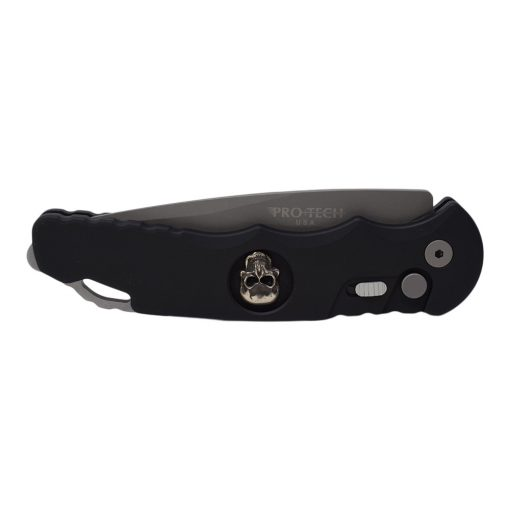 Pro-Tech TR-4 Skull154CM Bead Blasted Drop Point Blade Black Aluminum Handle Front Side Closed